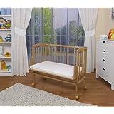 WALDIN Lit cododo pour bébé/berceau - hauteur réglable - bois naturel ou blanc laqué
