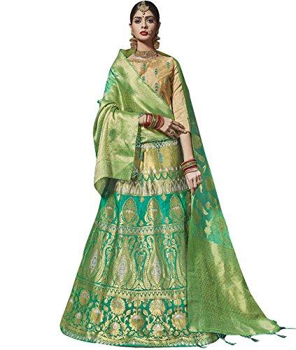 Indian Ethnicwear Bollywood Pakistani Wedding Green A-Line Lehenga Semi-stitched