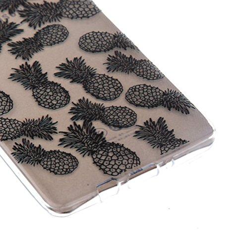 Ekakashop Transparente Flexible TPU Couqe pour Samsung Galaxy A5, Ultra Mince Doux Soft Silicone Protectrice Couverture Housse pour Galaxy A5 5.0 pouces, Motifs de Attrape Reve Cas Case Back Cover Def Ananas Noir