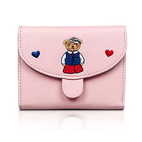 Fency Women's Embroidered Bear Wallet PU Leather Bi-fold (Pink)