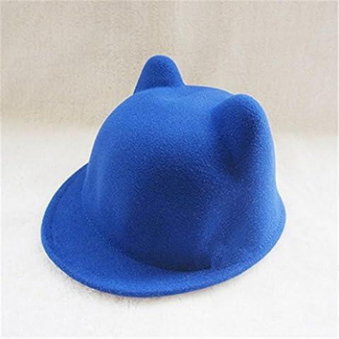 Bambino ragazzo ragazza magica lana Blend infantile Cat orecchio caldo cappello berretto , blue