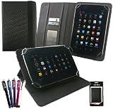 emartbuy Packet Mit 5 Eingabestift +Universalbereich Schwarz Carbon PU Leder Multi Winkel Folio Wallet Hülle Schutzhülle Cover mit Kartensteckplätze geeignet für I.onik TP - 1200QC 7.85 Zoll Tablet