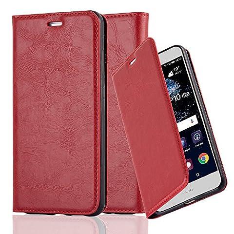 Huawei P10 LITE Hülle in APFEL-ROT von Cadorabo - Handy-Hülle mit unsichtbarem Magnet-Verschluss Standfunktion und Karten-Fach Case Cover Schutz-hülle Etui Tasche Book Klapp (Tasche Magnete)