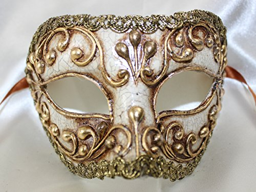 Máscara veneciana oro blanco