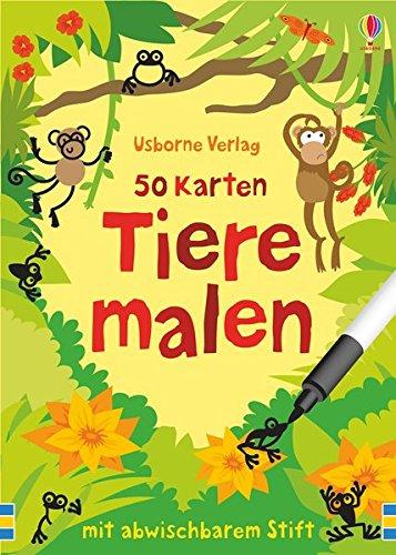 50 Karten: Tiere malen: mit abwischbarem Stift (Karte Malen)