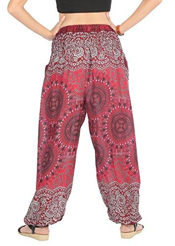 CandyHusky Haremshosen für Frauen Aladin im Hippy, Bohemian, Zigeunerstil für den Sommer am Strand oder als Yogahosen, Einheitsgröße Trident Mandala Rot