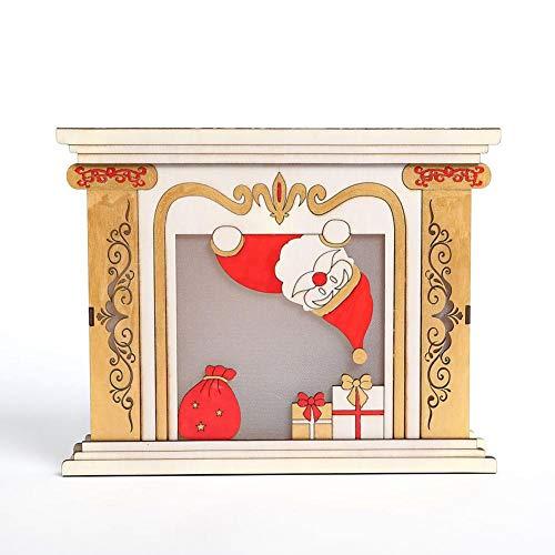 Oshide Wood House chimenea Navidad Cabinas Luminosas Decoración de Mesa de Regalo...
