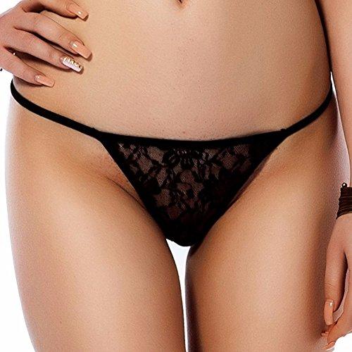 "Freebily Damen Tanga Spitze Strings Frauen C-strings G-String T-back Reizwsche Bikinislips Slip Erotik Unterwsche Unterhose M-XXL, Black ( Schwarz ), XL (Taillenumfang: 27.5-47.0""/70-120cm)"