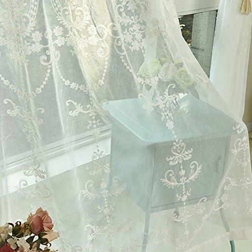 Moresave mantovane sheer floreale moderna tulle ricamato voile tenda della finestra pannello di drape