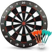 HagieNu Safety Soft Tip Dart Board Game Set Darts Game Dart Board Set No Harm to Kids- 17 Inch Rubber Dart Board with 6 Soft