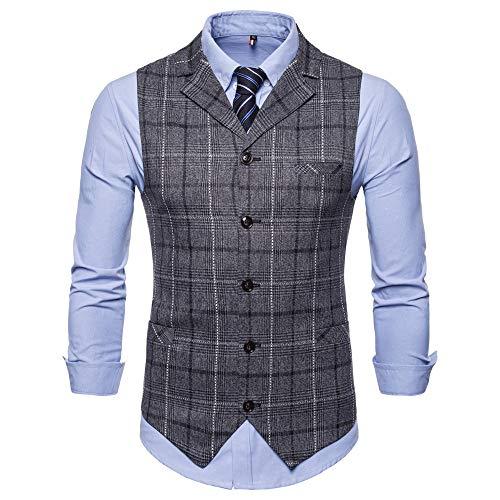 VRTUR Herren Weste Anzugweste Wolle Tweed Weste Kragenweste Anzugweste Freizeit Business Casual Slim Fit Weste V-Ausschnitt Blazer (Large,F-Dunkelgrau) -