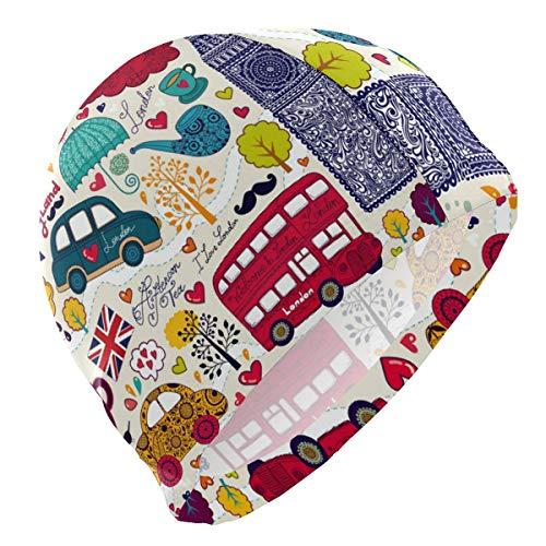 Gebrb Badekappe/Schwimmkappe/Bademütze, Swim Cap Cartoon England London Big Ben Cute Pattern Swimming Cap for Men Boys Adult Teen Swimming Hat No-Slip (Cute Boys Teen)