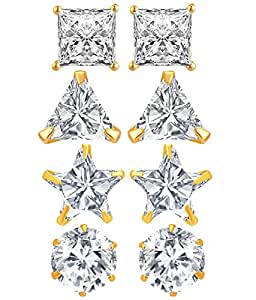 Jewels Galaxy Gold Plated Stud Earrings for Women (White)(CB-BLL-77)