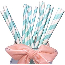 BOFA Papel Pajitas de Azul Rayas, Biodegradable Eco friendly para beber, boba, bebidas, para fiestas, decoración 19,7 cm, (100 unidades)