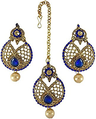 Banithani dorado tradicional indio étnico cz maang tikka pendiente mujeres set joyería