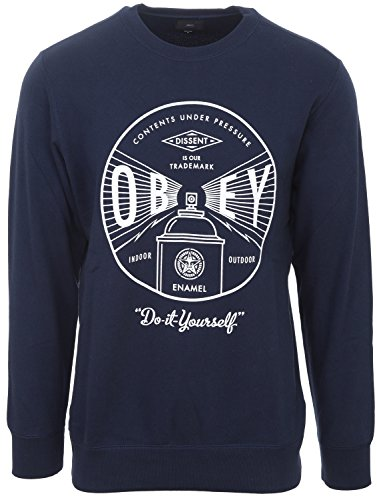 Obey Under Pressure Premium Crew Fleece uomo, felpa, blu Navy