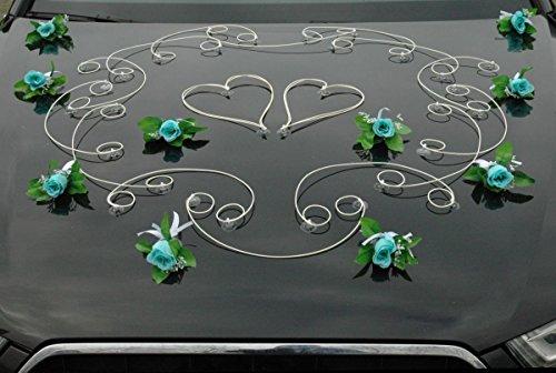 (FEINHEIT Auto Schmuck Braut Paar Rose Deko Dekoration Autoschmuck Hochzeit Car Auto Wedding Deko Ratan (türkis))
