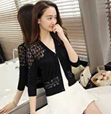 Imported and New Fashion female cardigan thin outerwear short design sweater cutout small cape (Black)