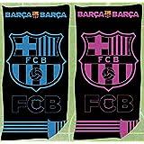 FCB Toalla Playa Oficial FC Barcelona Jaqcuard 100% Algodón 90x170 cms (Disponible en Azul