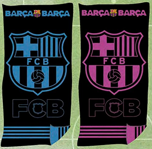 Toalla Playa Oficial FC BARCELONA Jaqcuard 100% Algodón 90x170 cms ( Disponible en Azul y Rosa) (AZUL)