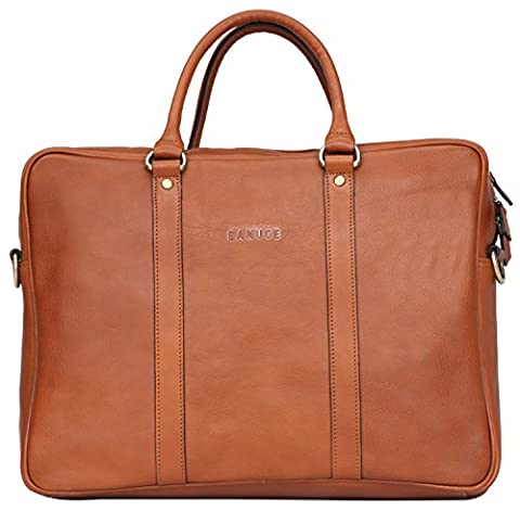 Banuce Italian Leather Slim Briefcase Tote/Shouler Laptop Case