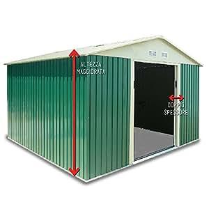 Box Casetta giardino doppio spessore lamiera 261x181xh218cm da esterno L-PLUS
