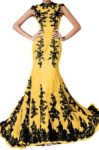 Applicazione punta, Ivydressing donna Elegant Mermaid Chiffon un'ampia vestito da sera lungo Gelb