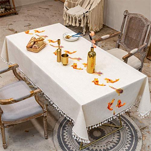 SONGHJ Baumwolle Leinen Bestickt Goldfisch Quaste Tischdecke Wasserdicht Rechteckig Hochzeit Esszimmer Dekoration Weihnachten Tischdecke Tee Tischdecke B 140x180cm