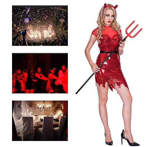 Rot Teufel Pailletten Kostüm - JH&MM Halloween Frau Kostüm Erwachsene Teufel Sexy Pailletten Overall Rock Set Cosplay Party Game Maskerade Performance Pack,L
