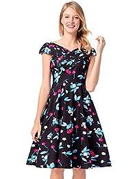 antaina Estampado de Cereza Azul Adornado Con Una Línea Vestido de Playa Plisado Fiesta de la
