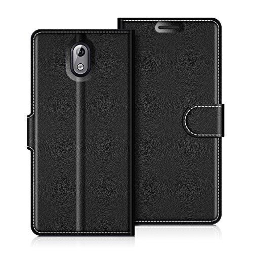 COODIO Nokia 3.1 2018 Hülle Leder, Nokia 3.1 Lederhülle Ledertasche Wallet Handyhülle Tasche Schutzhülle Magnetverschluss für Nokia 3.1 - Version 2018, Schwarz