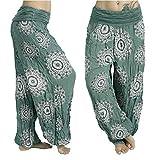 MOIKA Damen Hosen Mode Thai Boho Harem Hosen Festival Hippie Kittel Hohe Taille Yoga Hosen Mehrfarbig und Multi-Stil Freizeithose Dancehose