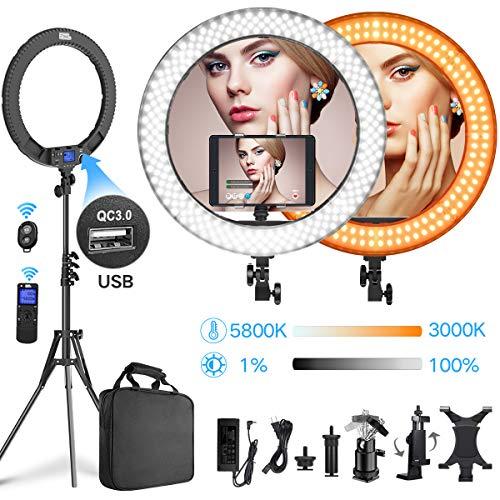 Ring Licht, Pixel 19 Zoll mit USB 3.0 LED Ring Light, 3000-5800K Dimmbares, FunkFernbedienung Ring Leuchte für YouTube Videoaufnahmen, Fotografie, Make up, Live-Übertragung