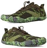 WHITIN Zapatilla Minimalista de Barefoot Trail Running para Hombre Mujer Five Fingers Fivefingers Zapato Descalzo Correr Deportivas Fitness Gimnasio Calzado Asfalto Verde 41