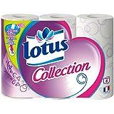 LOTUS Collection Set de 6 Rouleaux de Papier Toilette blanc et violet - Lot de 2 - Coloris aléatoir