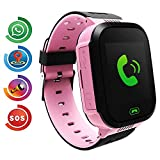 Kids Smart Watch Phone, LBS/GPS Tracker Smart Watch per bambini-guarda smart watch impermeabile con GPS LBS Wifi telefono cellulare locator con una chat vocale macchina fotografica giochi(Rosa)