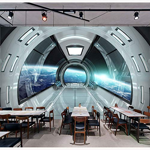 ADDFLOWER Moderno Tapeten Aufkleber Raumschiff Fototapete Home Bar Dekor Papier Peint Wandbild 3D selbstklebende Tapete, 200X140 cm (78,7 By 55,1 In)