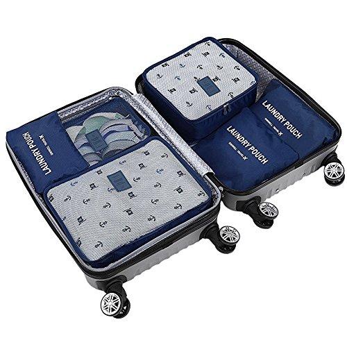 6 St.10 Kleidung Reisegepäck-Organisierer Verpackung Lagerung Taschen ,3 Reisewürfel + 3 Beutel