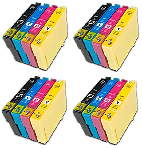 Prestige Cartridge Epson 16XL Pack de 16 Cartouches d'encre compatible avec Imprimante Epson Workforce Séries, Noir/Cyan/Magenta/Jaune