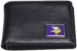 NFL Minnesota Vikings Men's Leather RFiD Safe Travel Wallet, 4.25 x 3.25