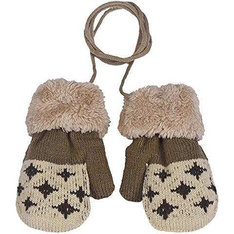 SMARTLADY Moda Patrón de Rombo Invierno Guantes para Bebé Niñas Niños, Suave Cálido Manoplas con cuerda