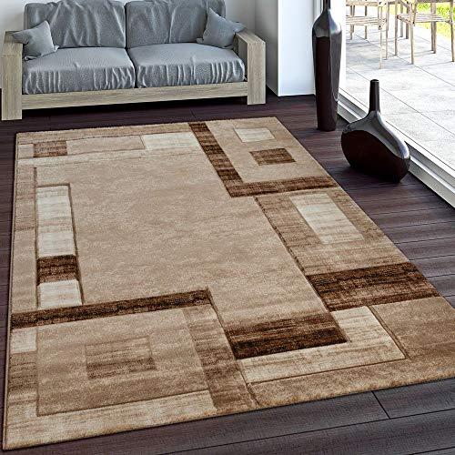 Paco home elegante tappeto firmato con bordo a quadri in marrone e beige mélange, dimensione:160x230 cm