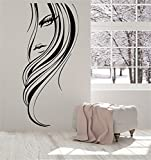 wkdgks Vinyl Wand Aufkleber Zitat Home Decor Schöne Mädchen Gesicht Lang Frisur für Beauty Salon 10.3 x 22.5 inches