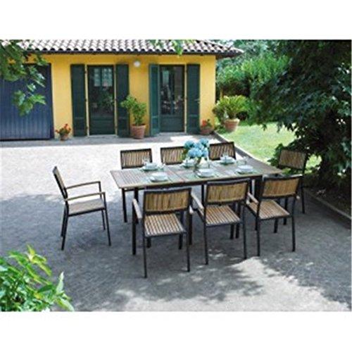 Table de Jardin rectangulaire extensible en teck et aluminium noir Vigo