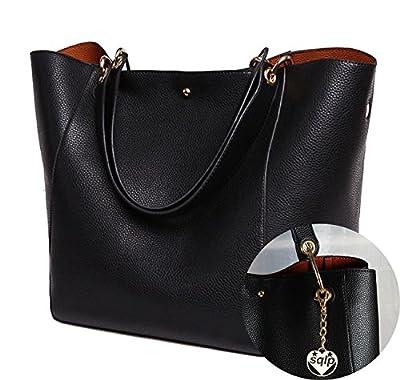 SQLP Mesdames Designer Sac à Main Femme Noir Cuir Sac d'épaule Cabas Sacs de Courses (Noir)