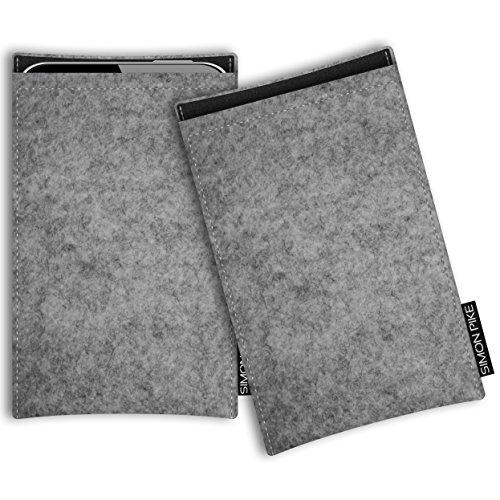 SIMON PIKE Microsoft Lumia 650 Filztasche Case Hülle Boston in grau 1, passgenau maßgefertigte Filz Schutzhülle aus echtem Natur Wollfilz, dünne Tasche im schlanken Slim Fit Design für das Lumia 650