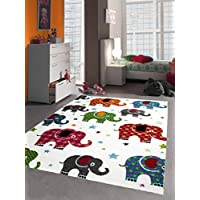 VIMODA Kinder Teppich Bunt Kinderzimmer Teppiche Tiere Giraffe Geier Schildkr/öte Nilpferd Elefant Vogel Zoo Kinderteppich Schadstoff Gepr/üft 80x150 cm