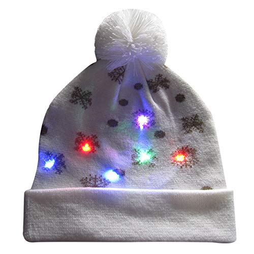 Xmas Christmas Beanie Hut Kapuze für Weihnachten Malloom, LED Light up gestrickter hässlicher Pullover Holiday