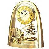 Rhythm contemporain mouvement Horloge de cheminée avec pendule spirale Doré