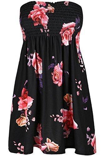 Gesammelt Bandeau Top (Womens Ladies Sheering Boobtube Gathered Bandeau Floral Rose Mini Dress Top)